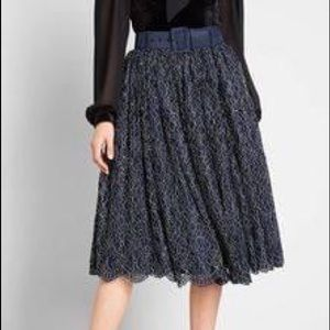 ModCloth | Navy/Gold Lace Belted Full Swing Skirt